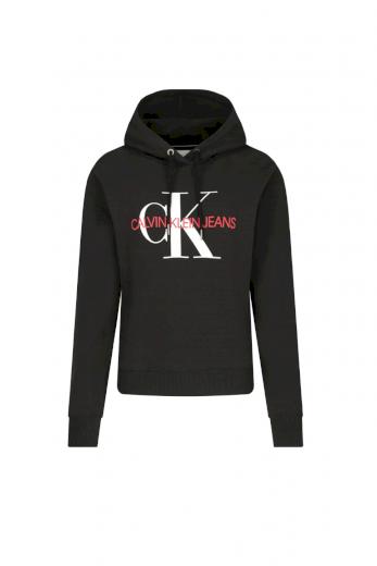 Calvin Klein dámská černá mikina CROP MONOGRAM HOODIE