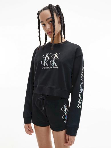 Calvin Klein Jeans dámská černá krátká mikina SHINE LOGO CREW NECK