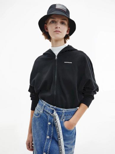 Calvin Klein Jeans dámská černá mikina s kapucí MICRO BRANDING ZIP-THROUGH