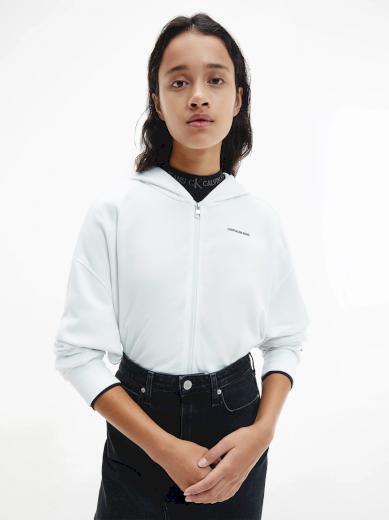 Calvin Klein Jeans dámská bílá mikina s kapucí MICRO BRANDING ZIP-THROUGH