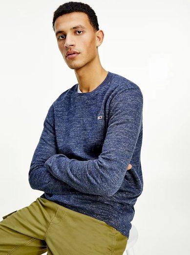 Tommy Jeans pánský tmavě modrý svetr TJM LIGHTWEIGHT HEATHER SWEATER