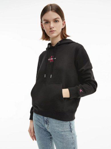 Calvin Klein Jeans dámská černá mikina s kapucí MONOGRAM LOGO HOODIE