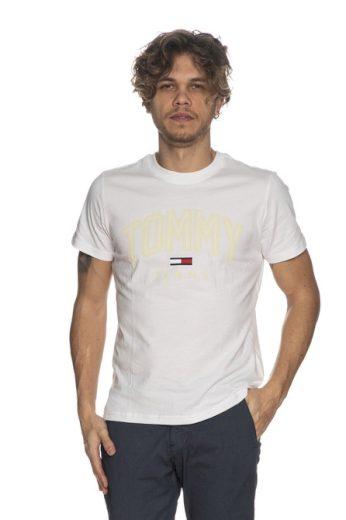 TOMMY JEANS pánské bílé tričko TJM SHADOW TOMMY PRINT TEE