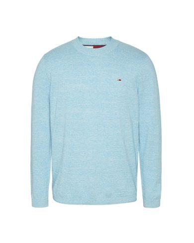 Tommy Jeans pánský světle modrý svetr TJM LIGHTWEIGHT HEATHER SWEATER