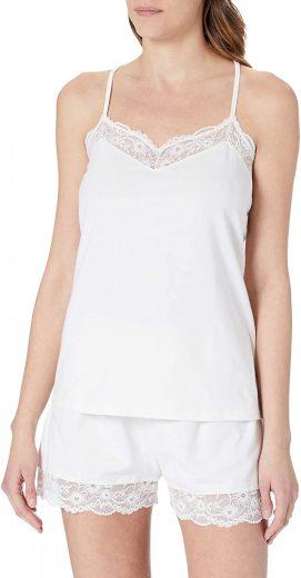 Emporio Armani dámské bílé krajkované pyžamo