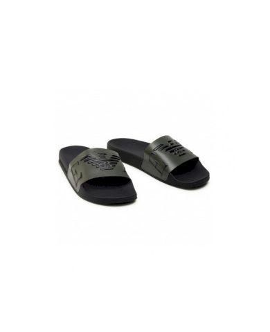 Emporio Armani pánské černo zelené pantofle