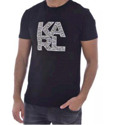 KARL LAGERFELD pánské černé tričko LIBRARY