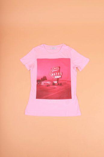 GUESS dámské růžové tričko s potiskem
