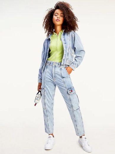 Tommy Jeans dámská denim džínová bunda CARGO CROP JACKET TJLLBC