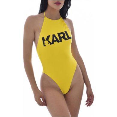 Karl Lagerfeld dámské žluté jednodílné plavky PRINTED LOGO