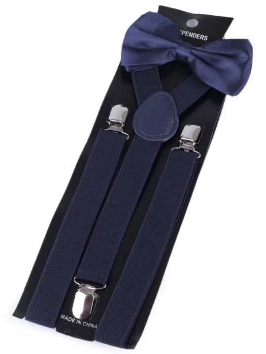 Stoklasa Dětská společenská chlapecká sada, motýlek a šle 650360/02, modrá