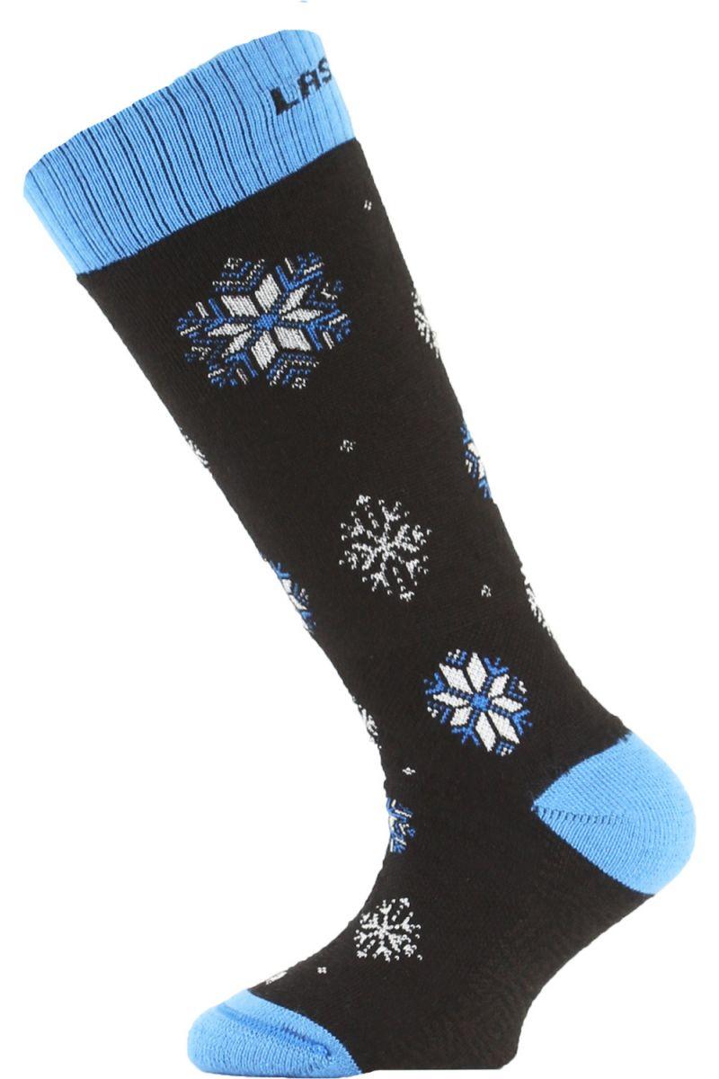 Lasting SJA dětské merino lyžařské ponožky černé