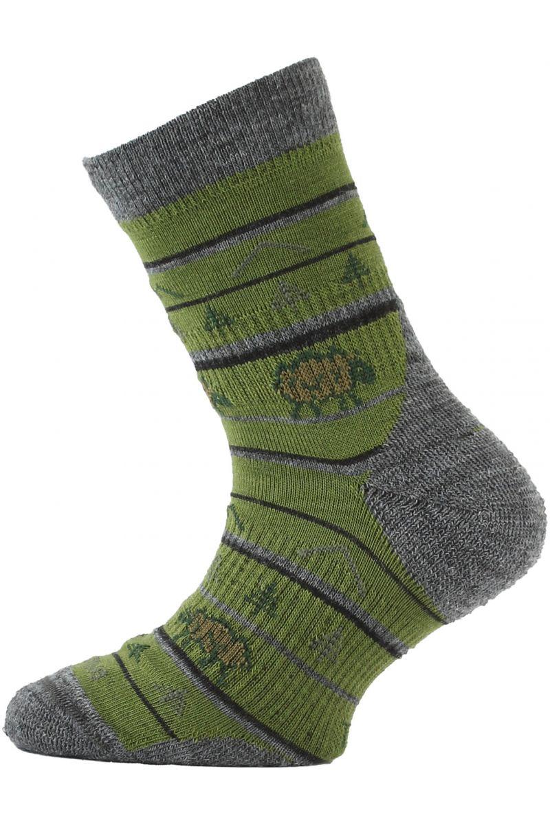 Lasting TJL dětské merino ponožky zelené