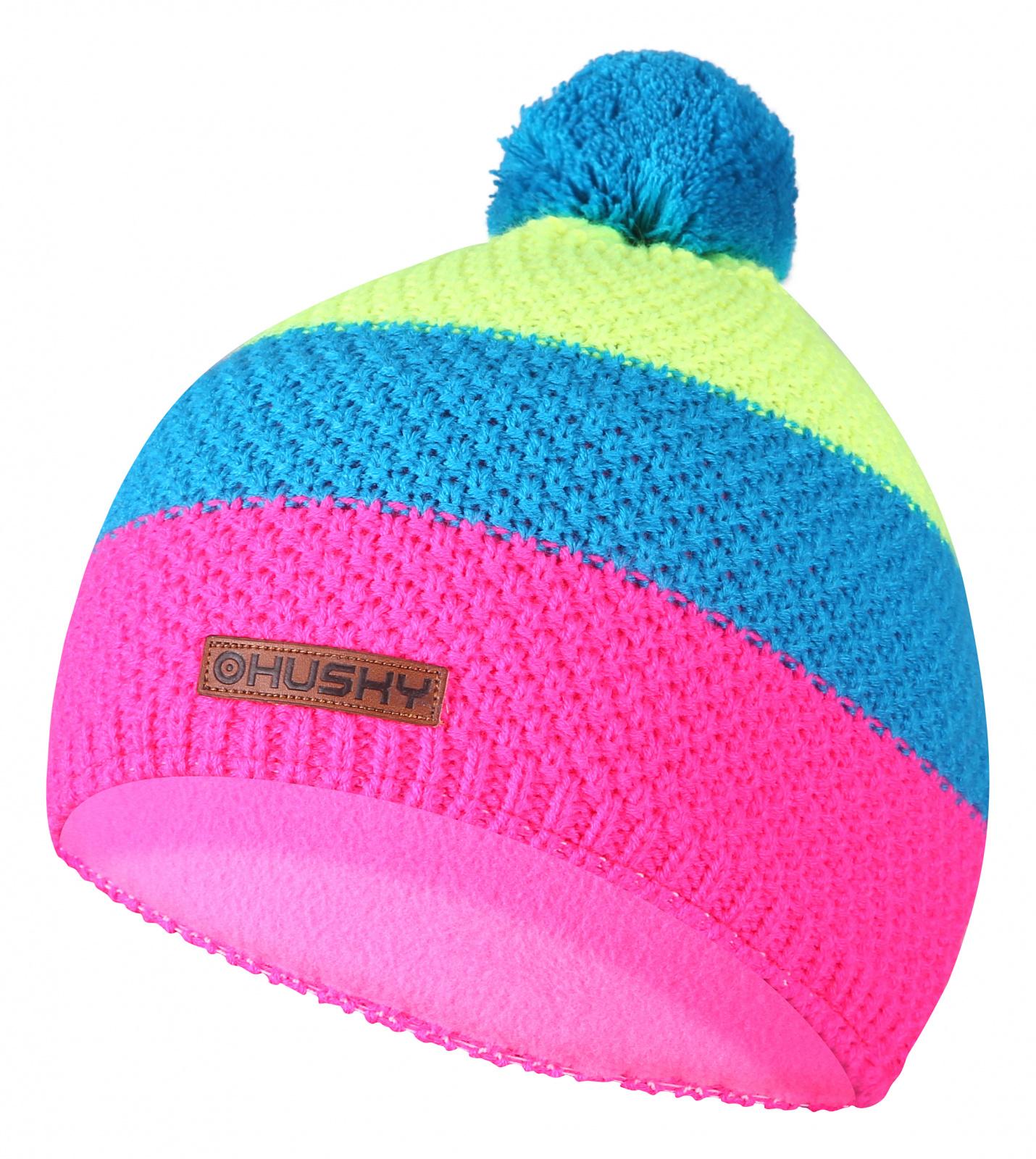 Husky Dětská čepice   Cap 35 růžová/neon žlutá