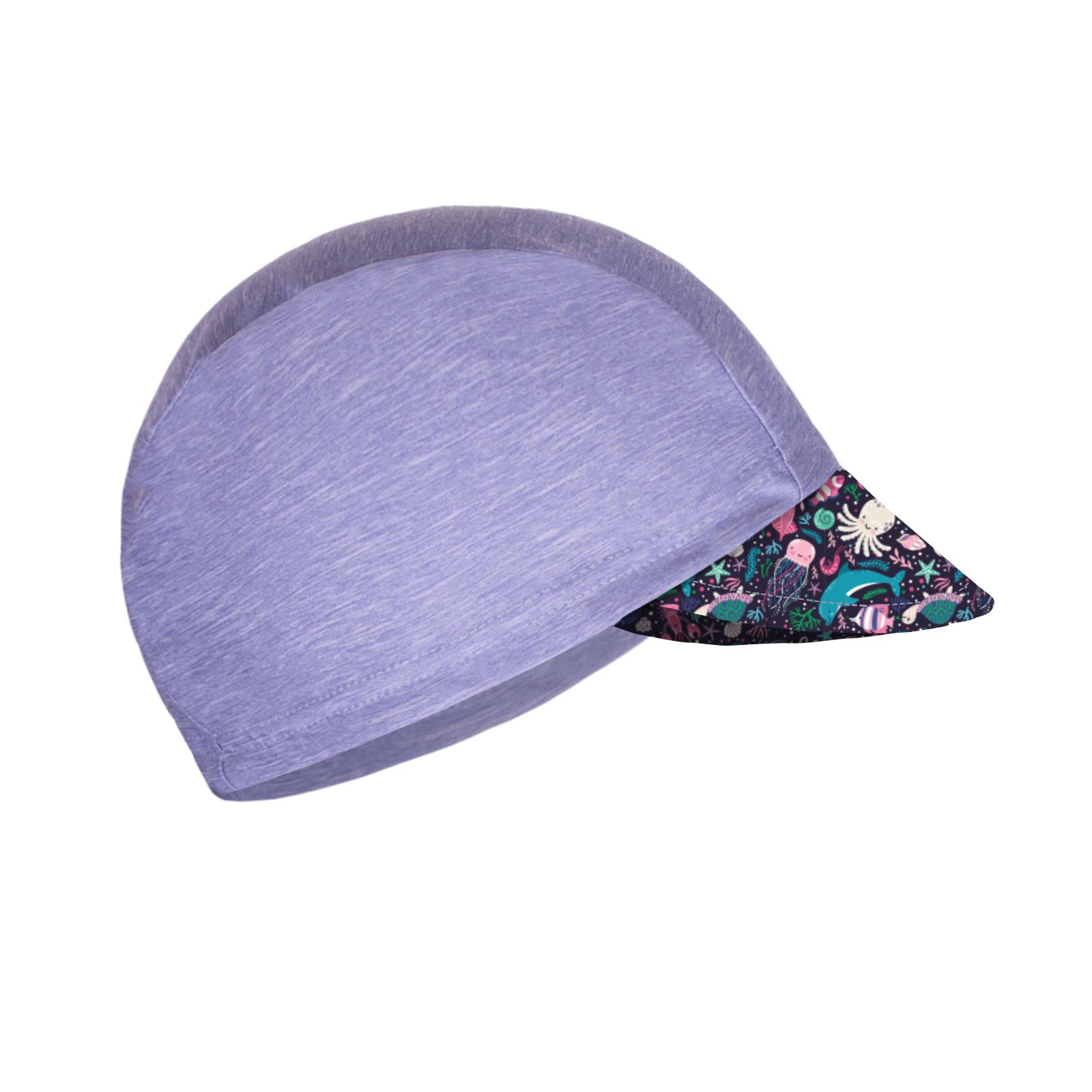Unuo Funkční čepice s kšiltem UV 50+, Žíhaná holubičí šedá, Mořský svět