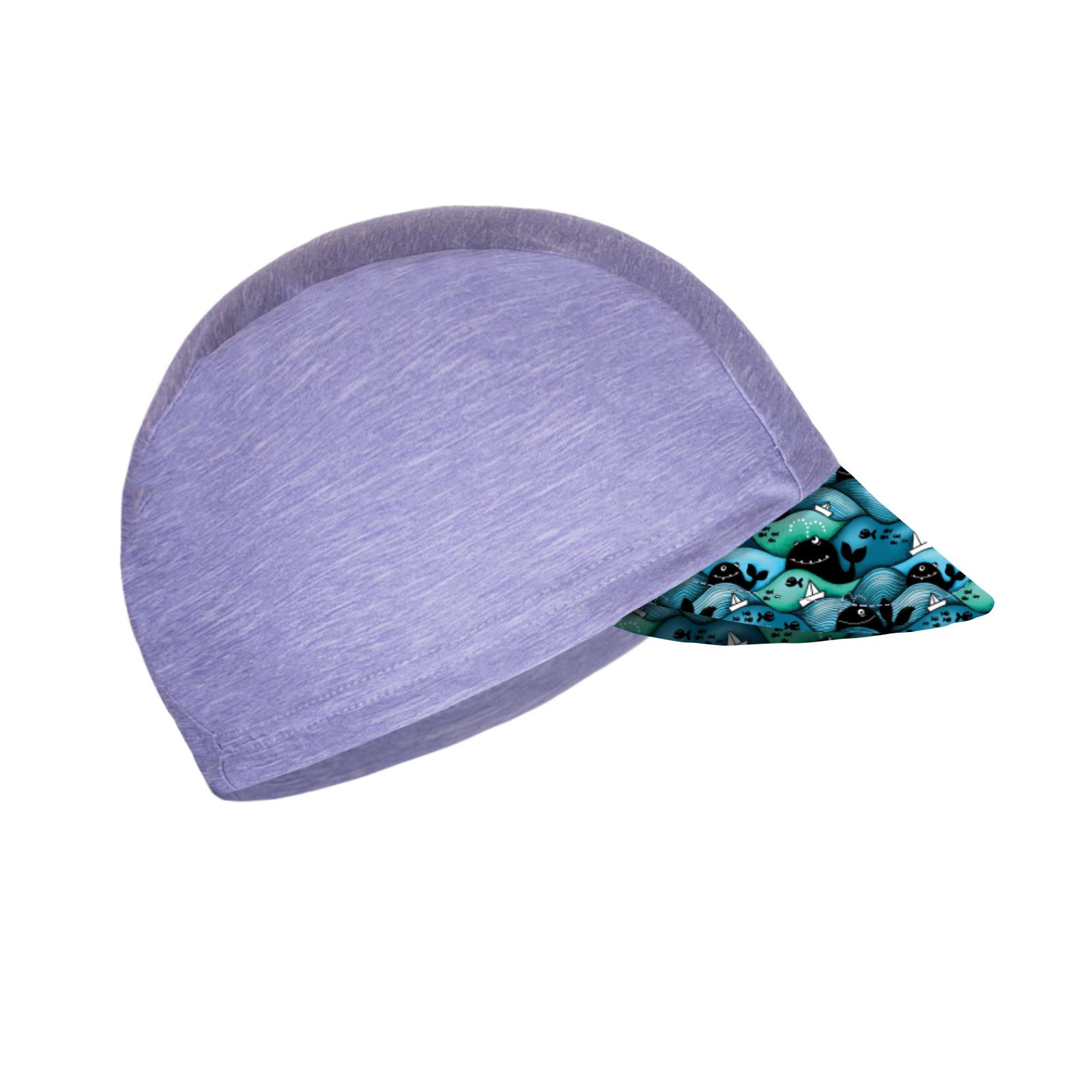 Unuo Funkční čepice s kšiltem UV 50+, Žíhaná holubičí šedá, Velryby kluk
