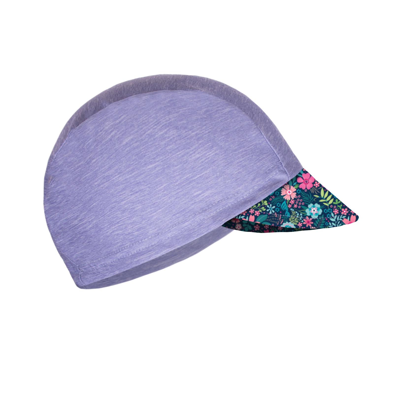 Unuo, Dětská funkční čepice s kšiltem UV 50+, Žíhaná Holubičí Šedá, Květinky