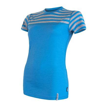 SENSOR MERINO ACTIVE dámské triko kr.rukáv modrá/šedá tenké pruhy