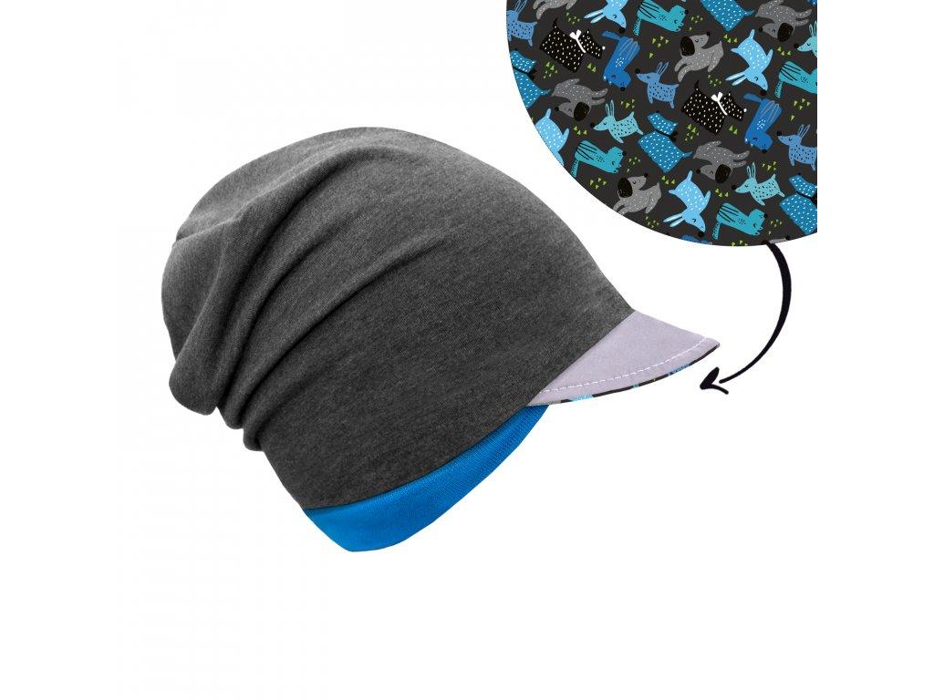 Unuo, Dětská čepice z teplákoviny s reflexním kšiltem spadená, Grafitová šedá, Pejsci