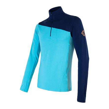 SENSOR MERINO EXTREME pánské triko dl.rukáv zip tm.modrá/modrá