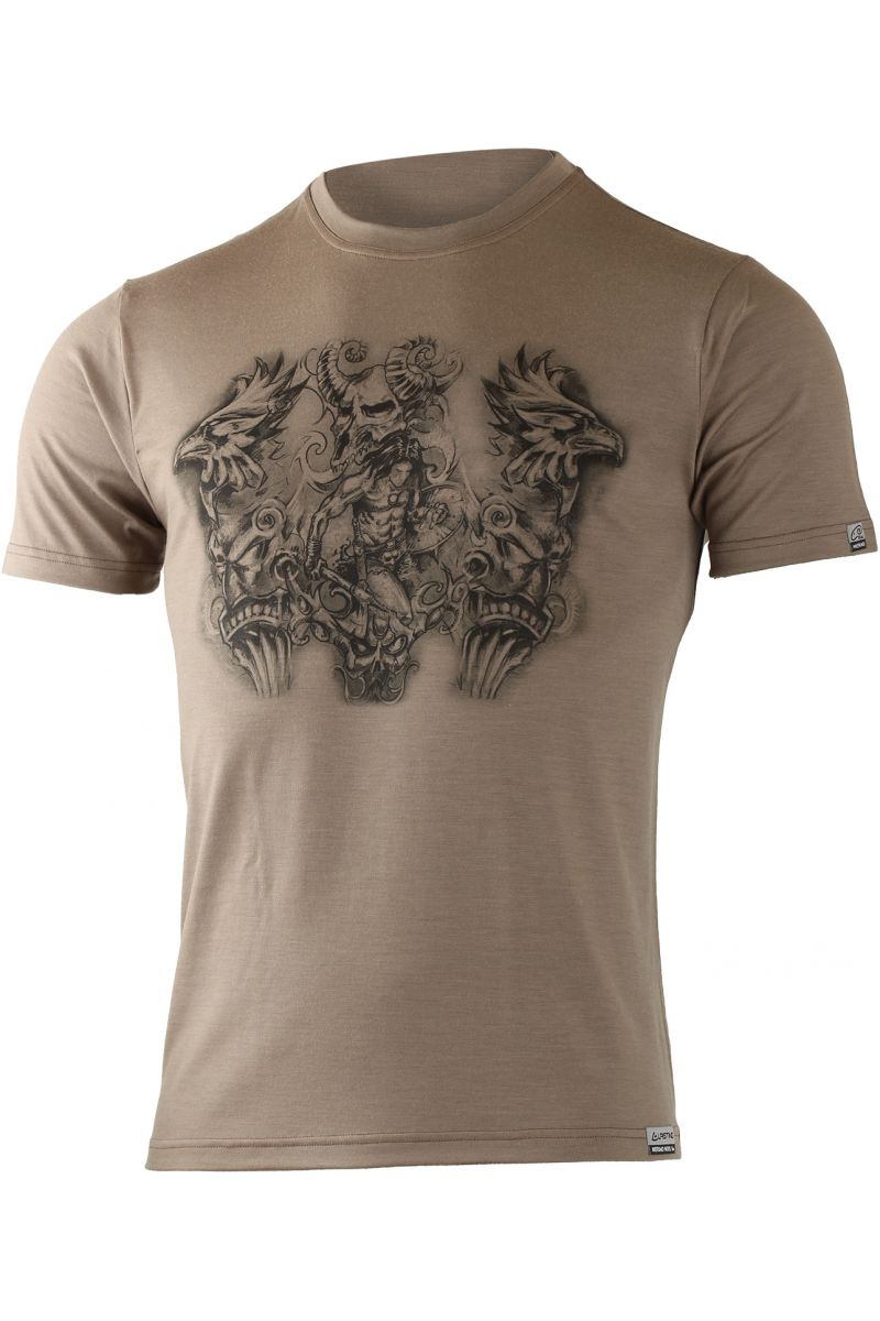 Lasting pánské merino triko s tiskem HERO hnědá