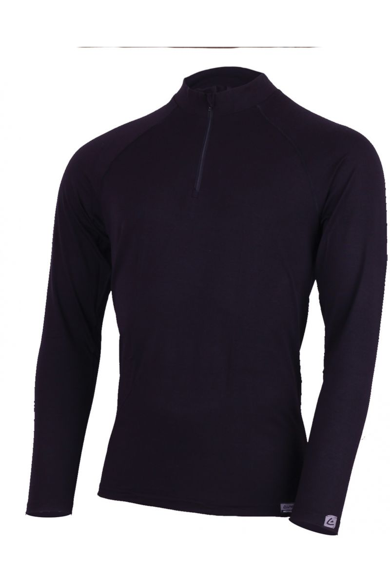 AZAR 9090 černé vlněné merino triko se zipem u krku