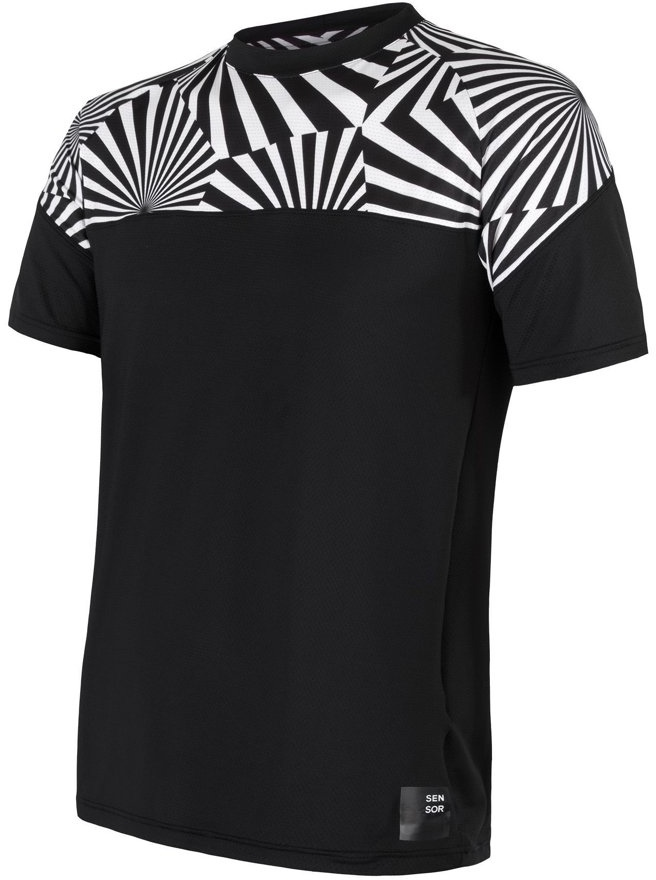 SENSOR COOLMAX IMPRESS pánské triko kr.rukáv černá/geometry