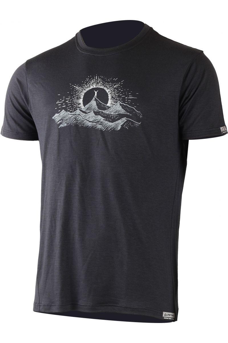Lasting pánské merino triko s tiskem JURA černá