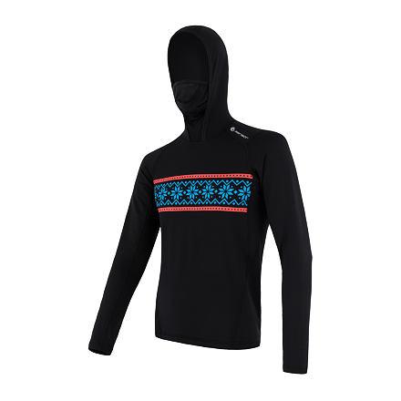 SENSOR THERMO pánské triko dl.rukáv s kapucí černá/vzor