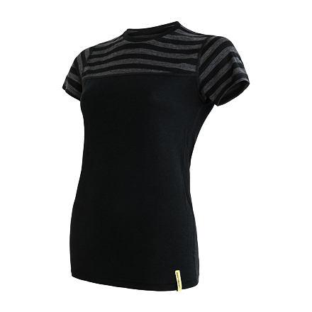 SENSOR MERINO ACTIVE dámské triko kr.rukáv černá/tm.šedá pruhy