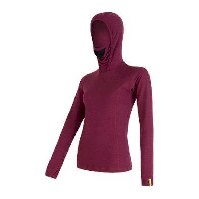 SENSOR MERINO DF dámské triko dl.rukáv s kapucí lilla