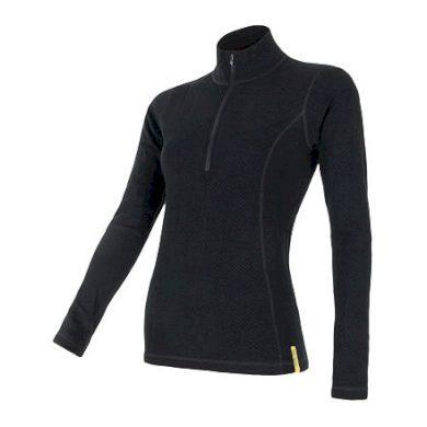 SENSOR MERINO DF dámské triko dl.rukáv zip černá