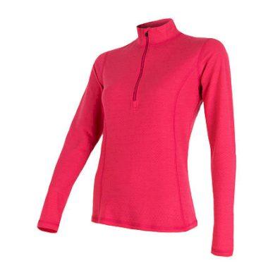 SENSOR MERINO DF dámské triko dl.rukáv zip magenta