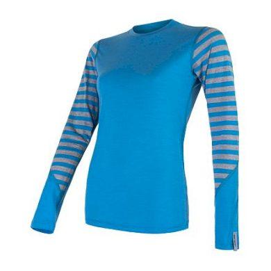 SENSOR MERINO ACTIVE dámské triko dl.rukáv modrá/šedá pruhy