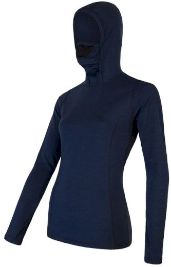 SENSOR MERINO DF dámské triko dl.rukáv s kapucí deep blue Velikost: S