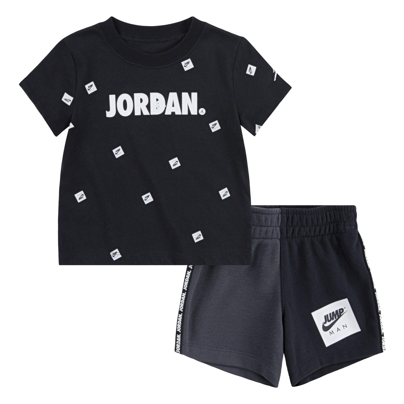 Jdb jumpman box tee/short set BLACK