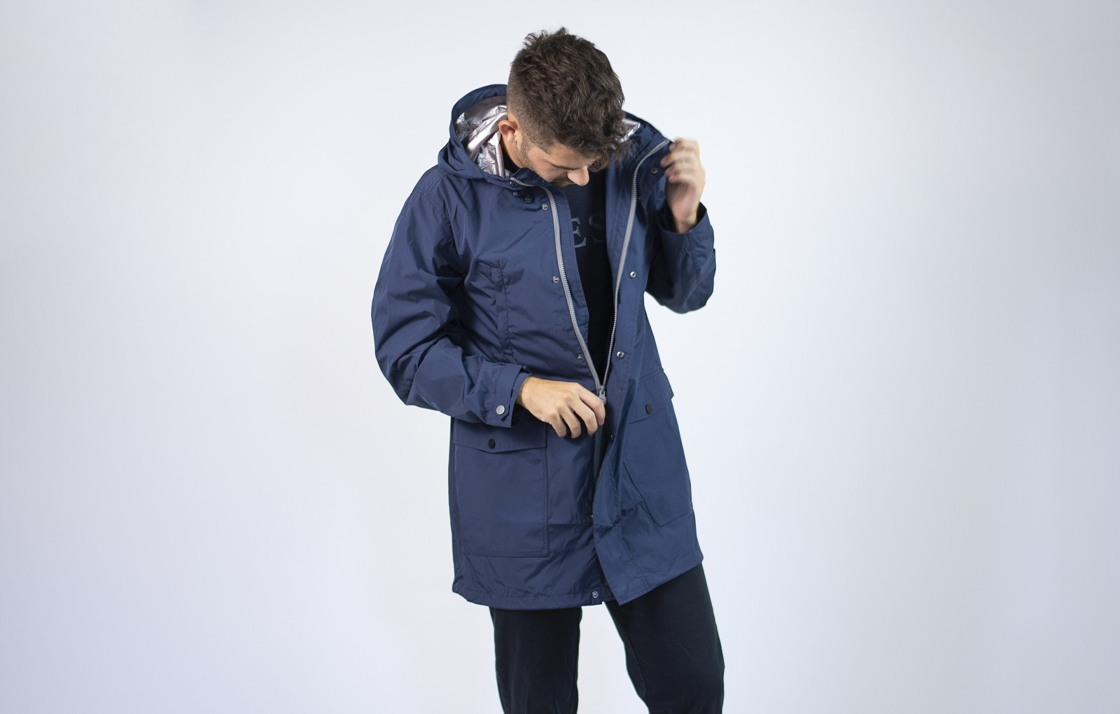 Guess august hooded parka BLUE OUT SILVER
