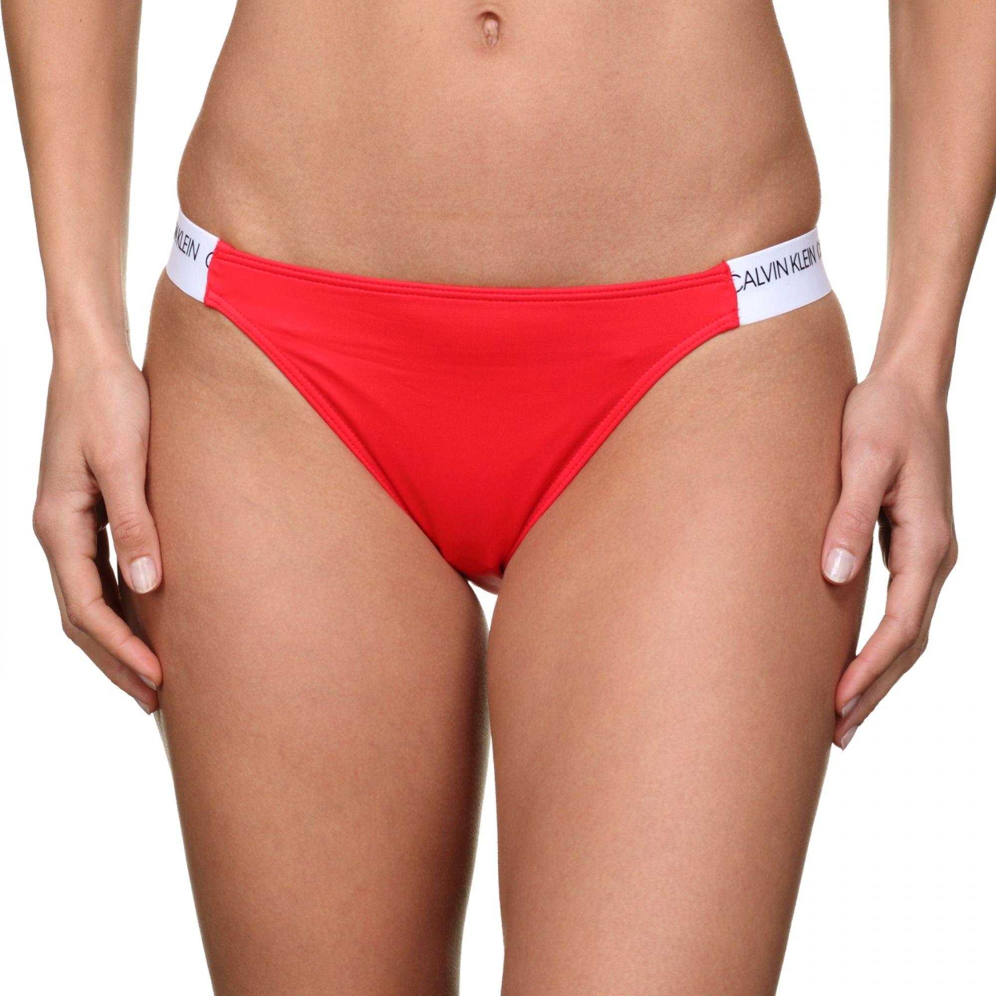 Dámský spodní díl plavek Calvin Klein - Cheeky bikiny červená