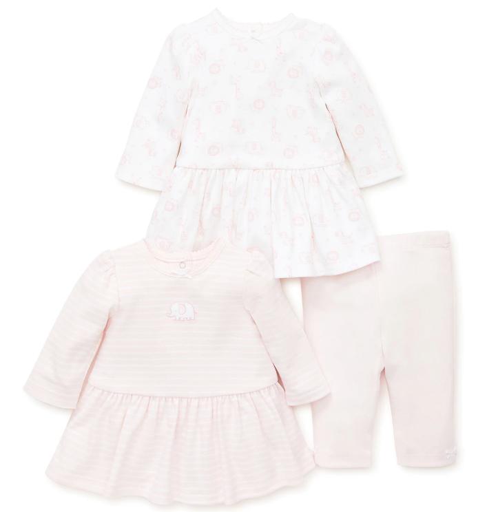 Little Me 3-dílná souprava kojenecké šaty a legíny