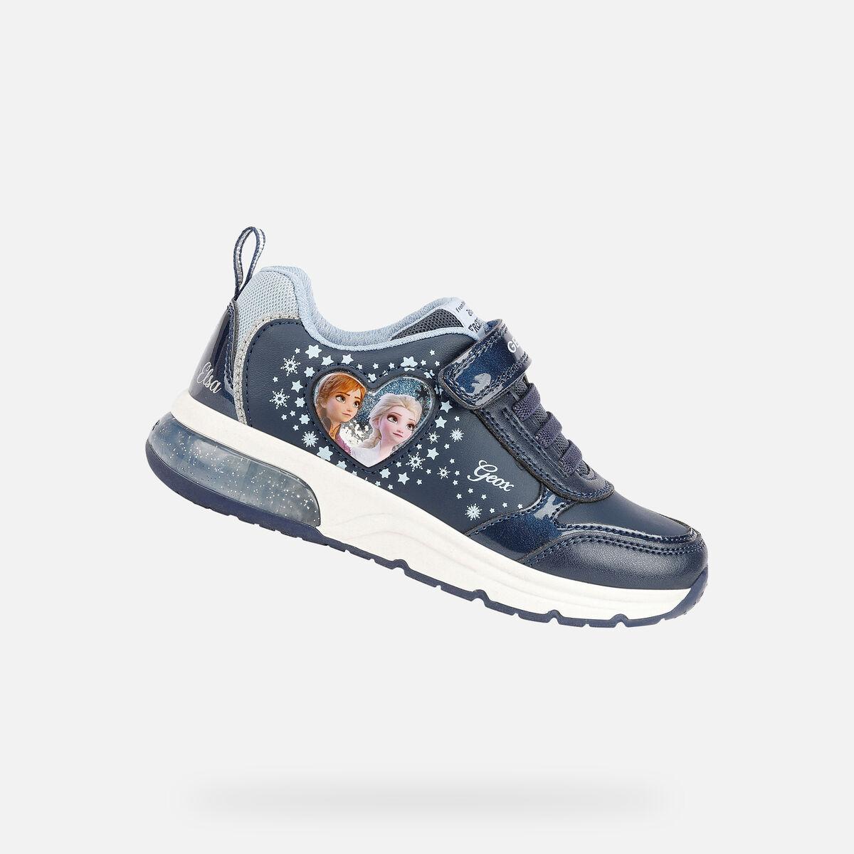 GEOX dětské boty SPACECLUB GIRL se svítící podrážkou modré - J168VB