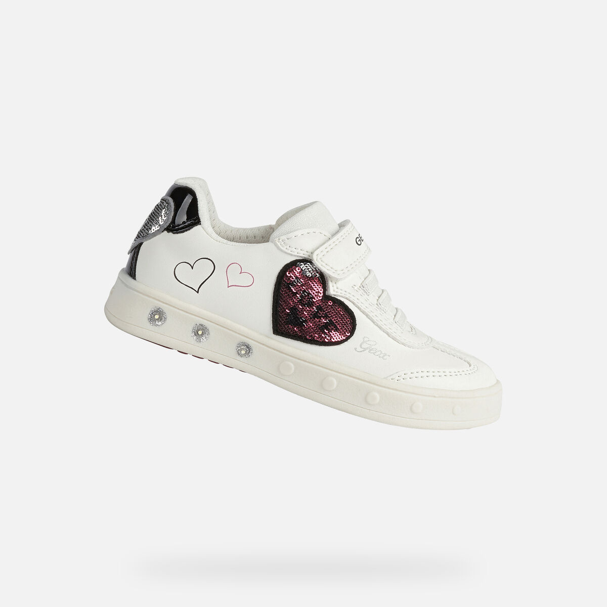 GEOX dětské boty se svítící podrážkou SKYLIN GIRL bílé - J168WD