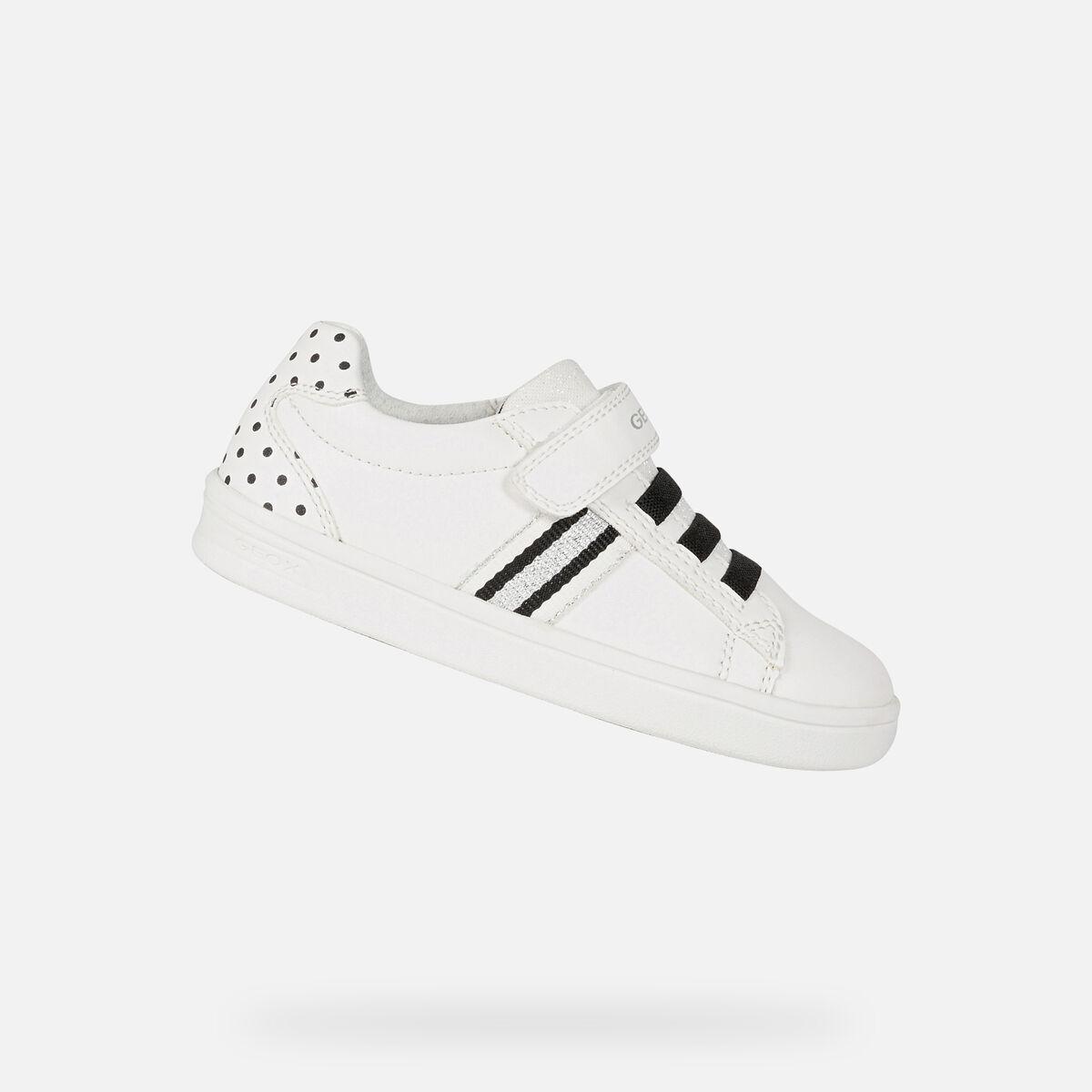 GEOX dětské boty DJROCK GIRL bílé - černé - J154MD