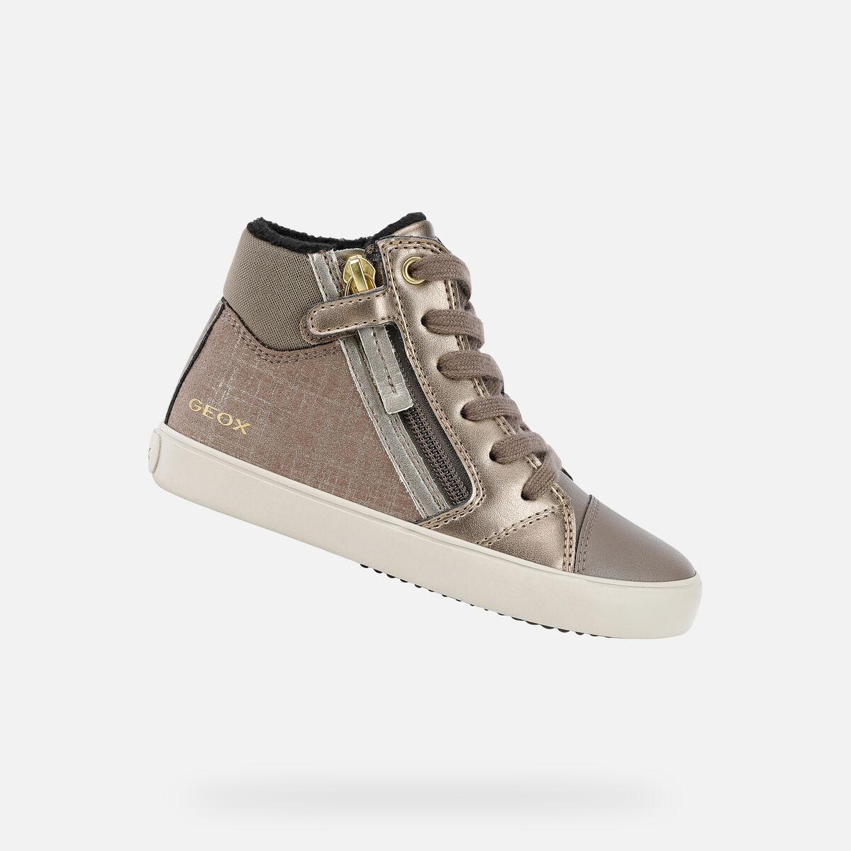 GEOX dětské kotníkové boty GISLI GIRL šedé - zlaté - J044NC
