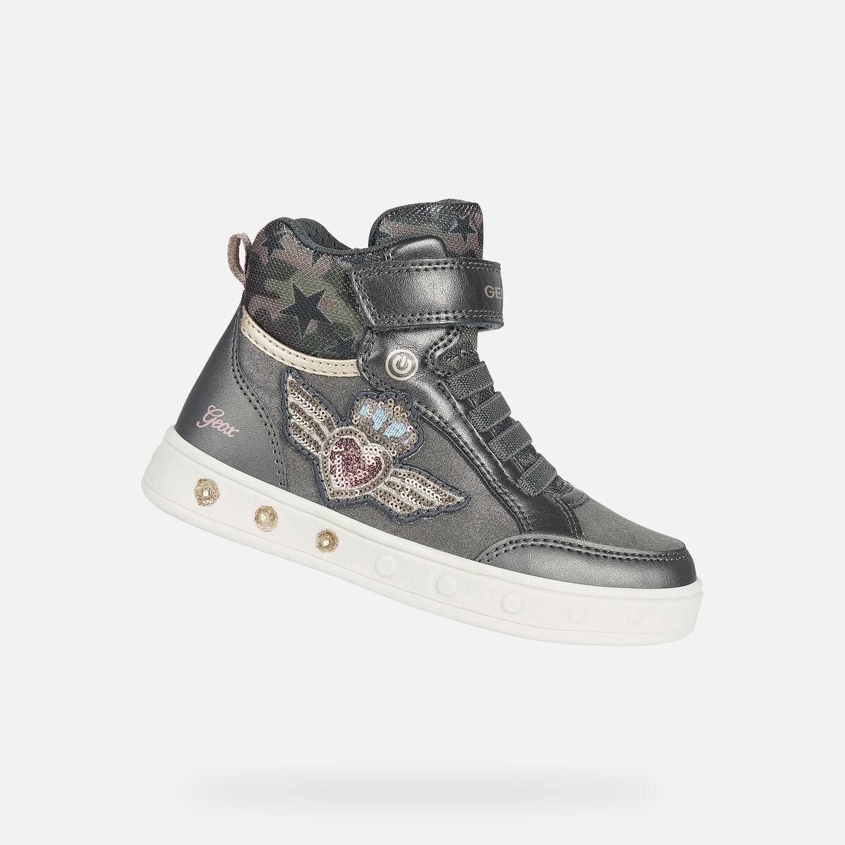 GEOX dětské kotníkové boty se svítící podrážkou SKYLIN GIRL šedé - J168WB