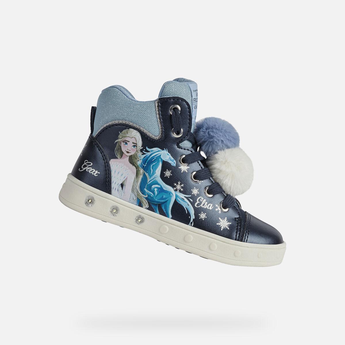 GEOX dětské kotníkové boty se svítící podrážkou SKYLIN GIRL modré - J168WC
