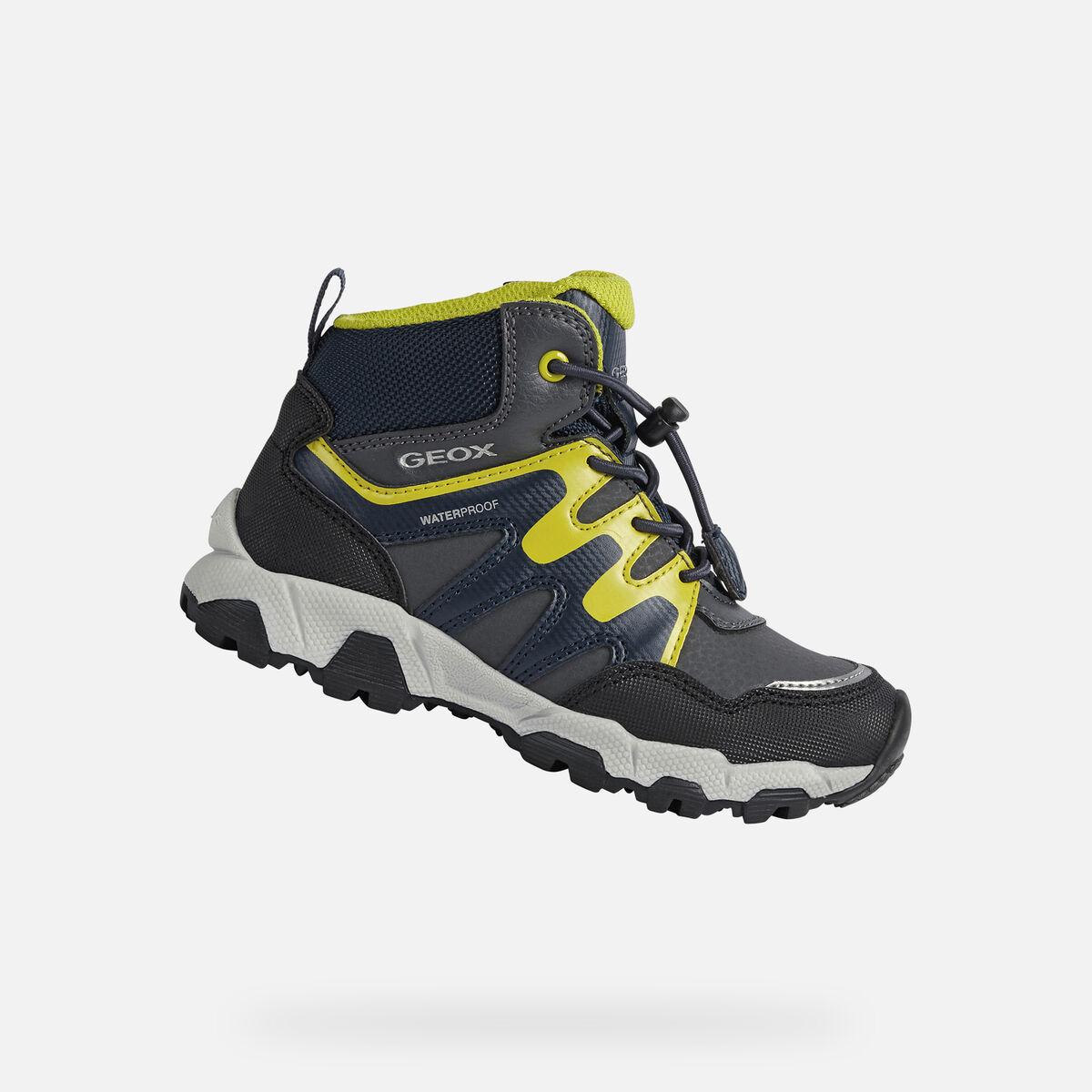 GEOX dětské kotníkové boty MAGNETAR BOY šedo - žluté - J164CA