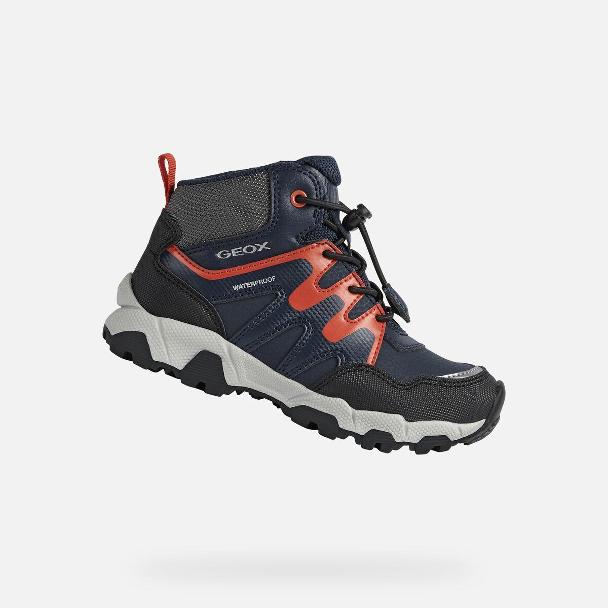 GEOX dětské kotníkové boty MAGNETAR BOY modro - červené -J16ACA