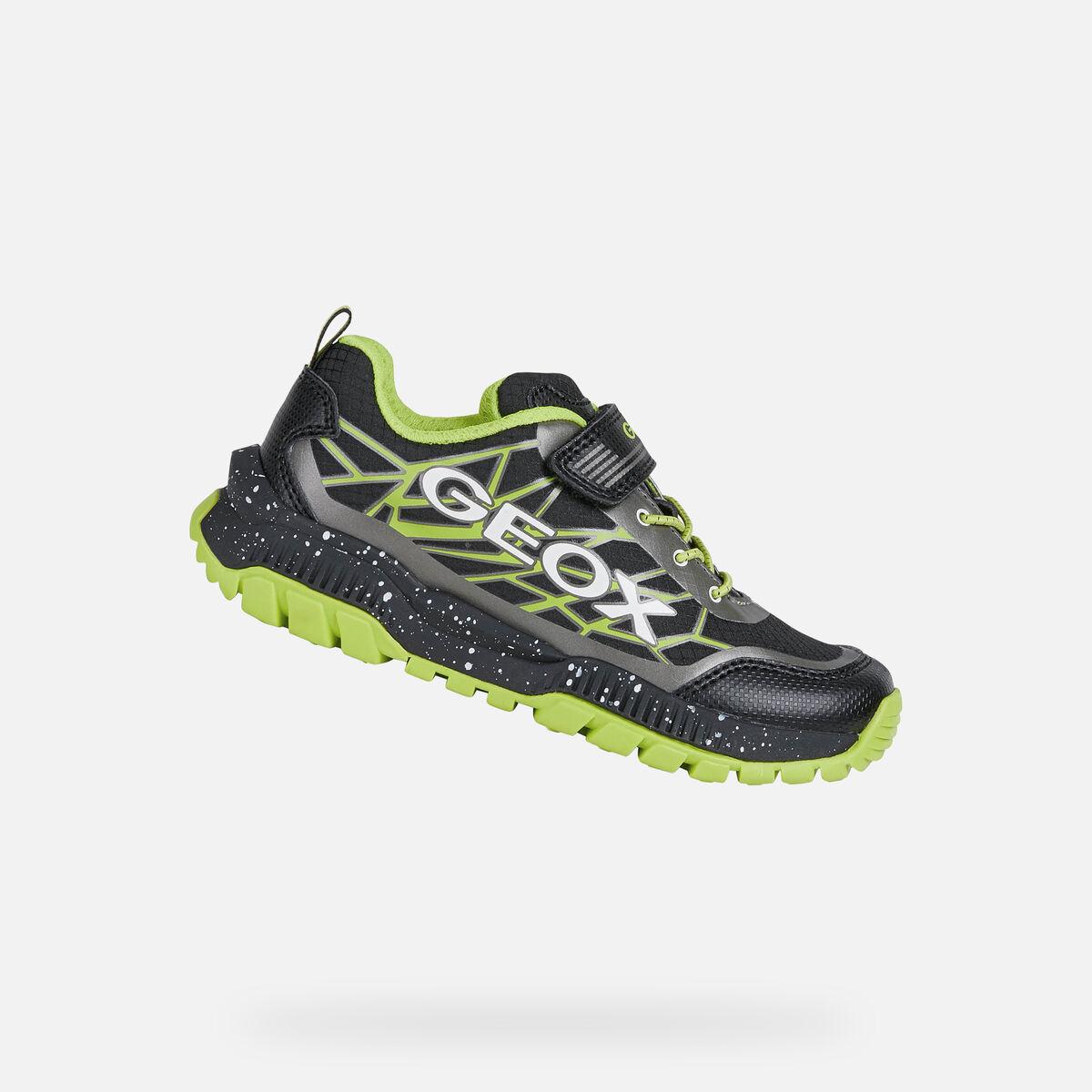 GEOX dětské boty TUONO BOY černé - zelené - J15AXB