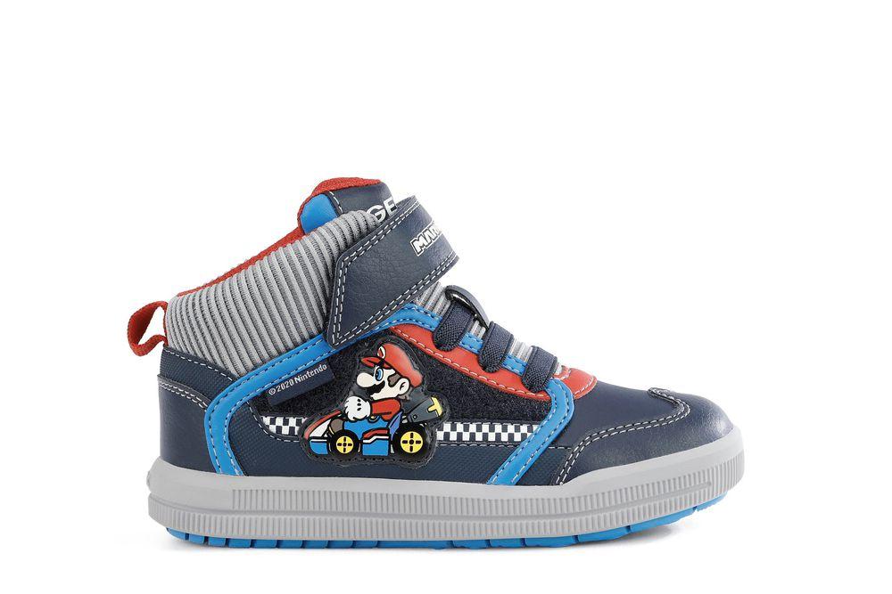 GEOX dětské kotníkové boty ARZACH BOY SUPER MARIO modré - šedé - J164AB