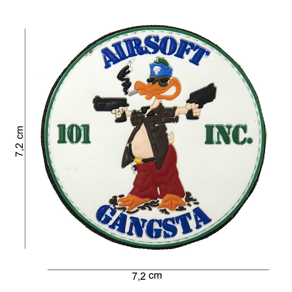 Gumová nášivka 101 Inc Airsoft Gangsta - bílá